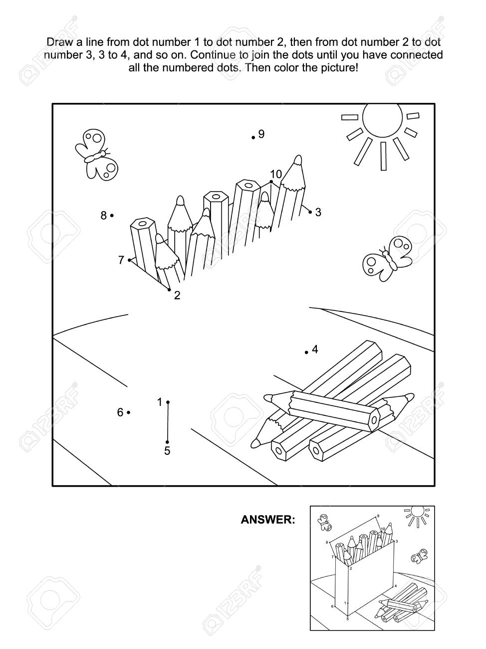 Connect The Dots Picture Puzzle And Coloring Page With Box Of ...