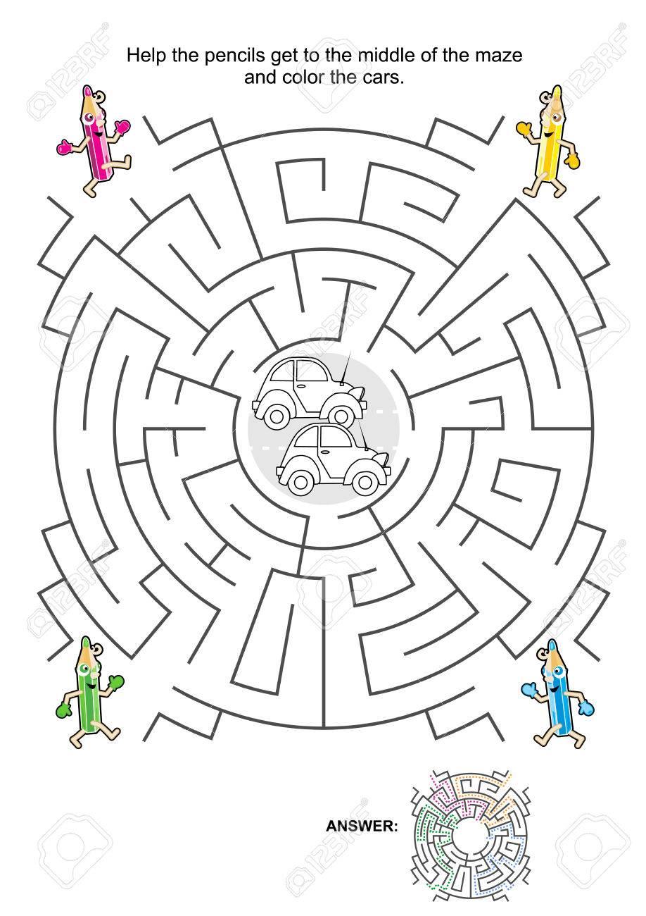 Maze Spiel Für Kinder: Hilfe Die Stifte In Die Mitte Des Labyrinths ...