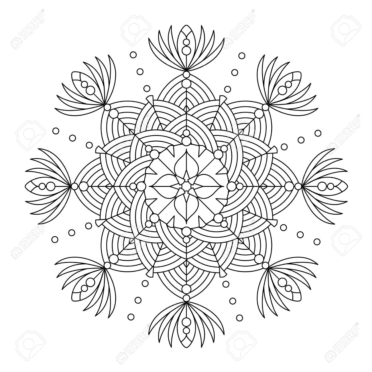 Abstract Mandala Or Whimsical Snowflake Line Art Design Or Coloring