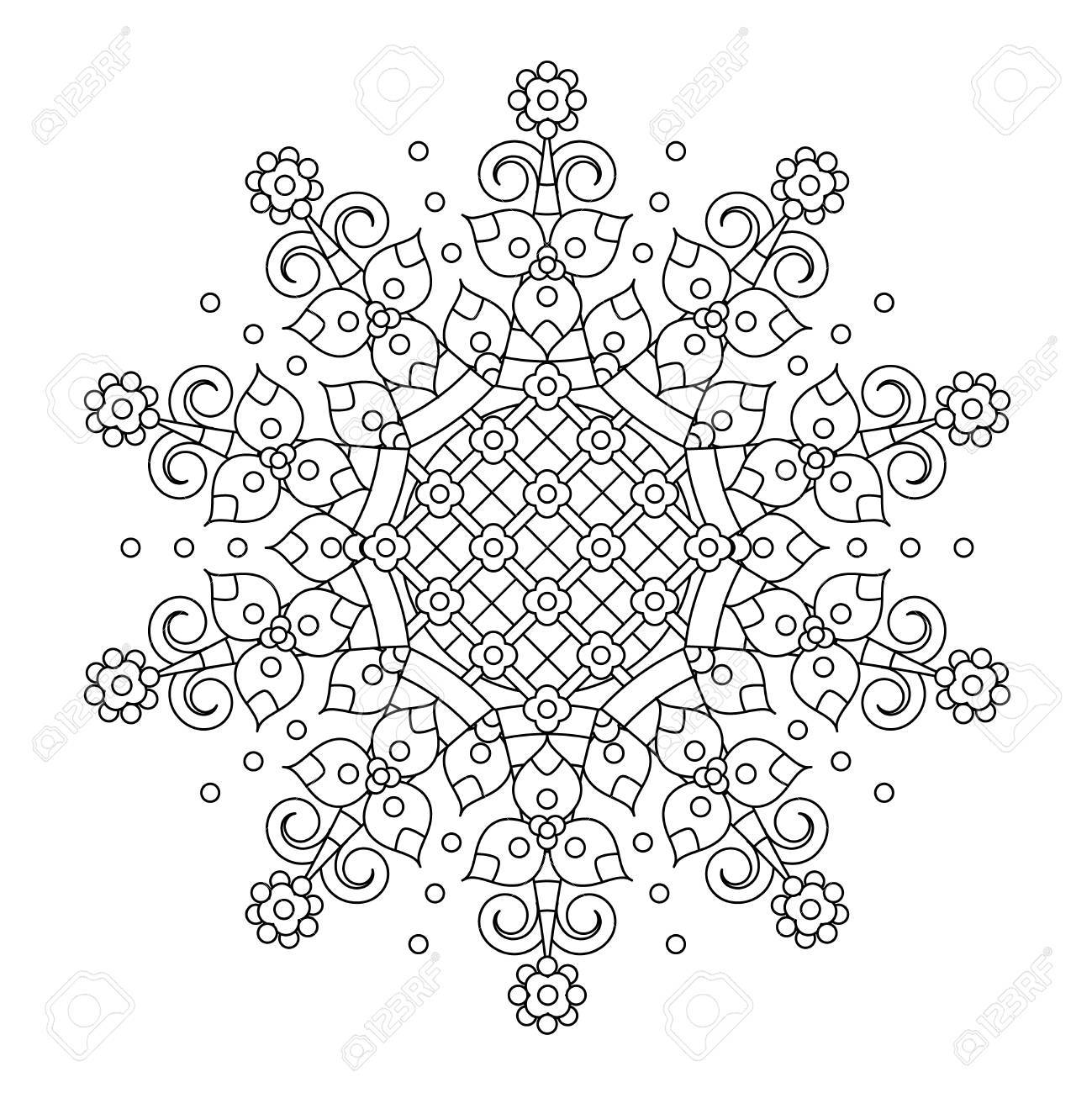 Abstract Mandala Or Whimsical Snowflake Line Art Design Or Coloring ...