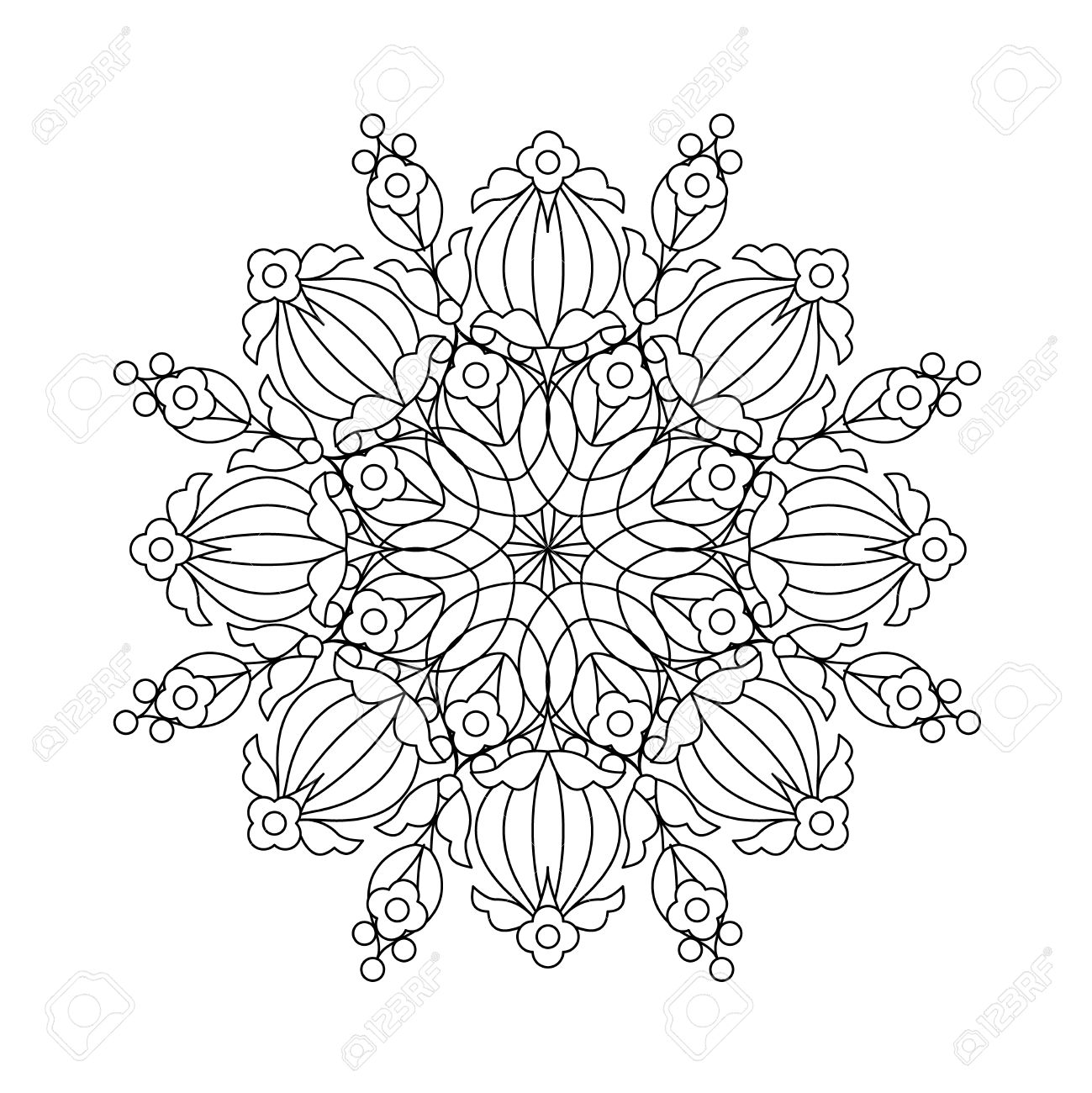 abstract mandala or whimsical snowflake line art design or