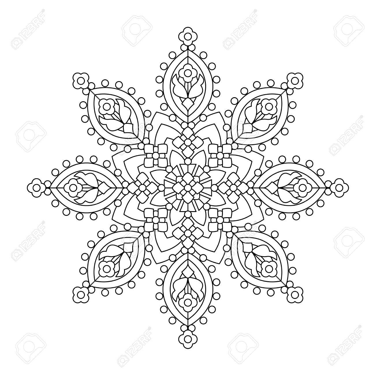 Abstract mandala or whimsical snowflake line art design or coloring page - 59069430