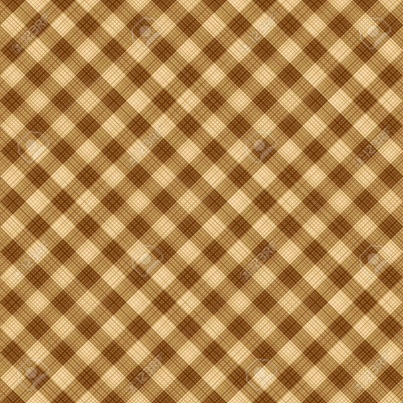 Banque Du0027images   Seamless (vous Voyez 4 Tuiles) Tan Et Brun Diagonal Tissu  De Tissu Vichy, Modèle, Swatch, Fond, Texture Ou Le Papier Peint.