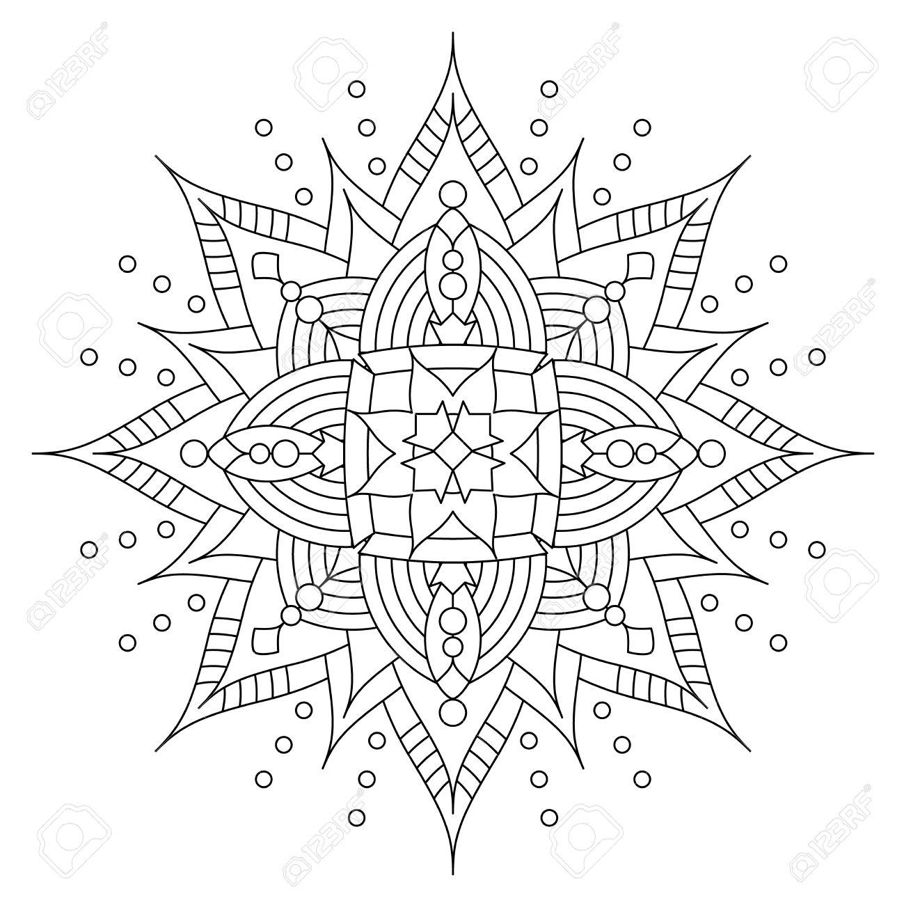 Résumé mandala ou ligne de flocon de neige lunatique de conception d art ou de