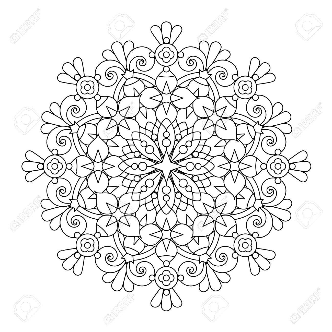 Abstract mandala or whimsical snowflake line art design or coloring..