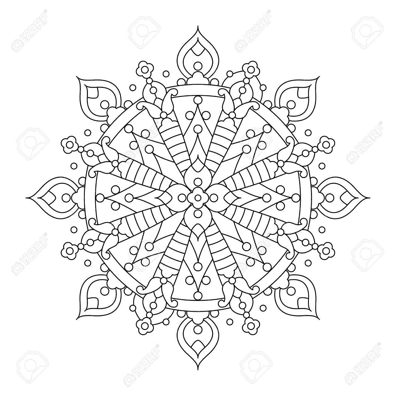 Mandala Abstracta O Línea De Copo De Nieve Caprichoso Diseño De Arte ...