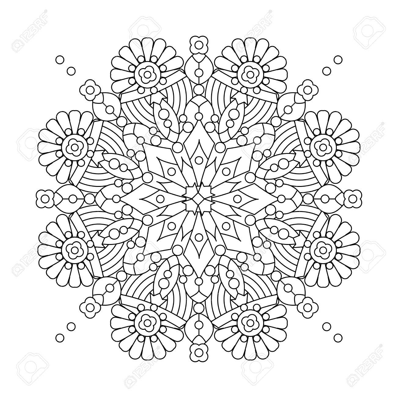 Coloring book snowflake - Abstract Mandala Or Whimsical Snowflake Line Art Design Or Coloring Page Stock Vector 59915530