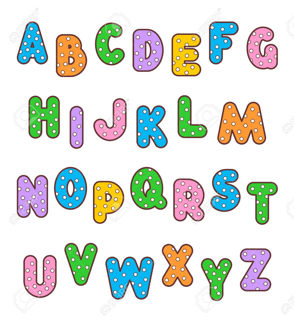 English alphabet set of polka-dot patterned and outlined bold
