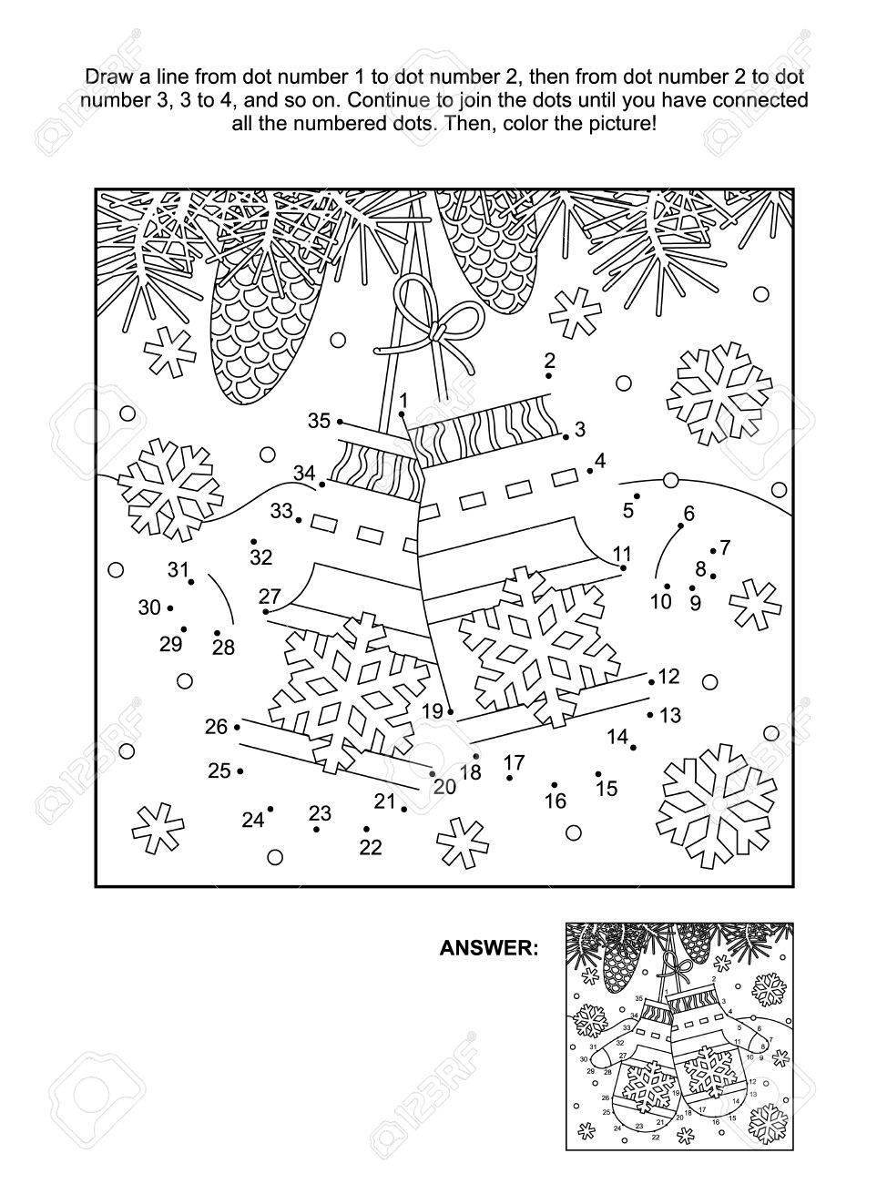 Winter, Silvester Oder Weihnachten Themed Die Punkte Vexierbild Und ...