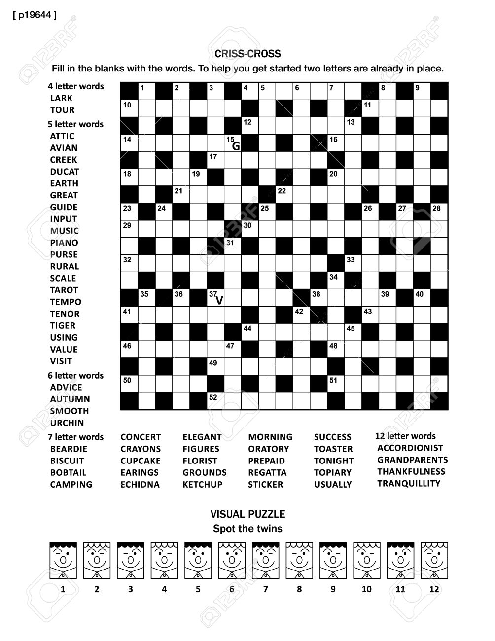 Puzzle Page With Two Puzzles 19x19 Criss cross Word Game English