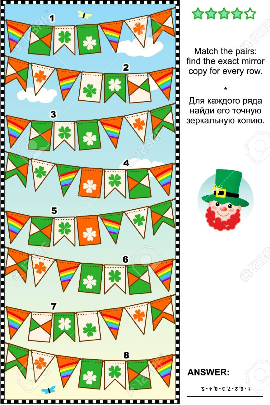 St  Patrick's Day themed visual logic puzzle: Match the pairs