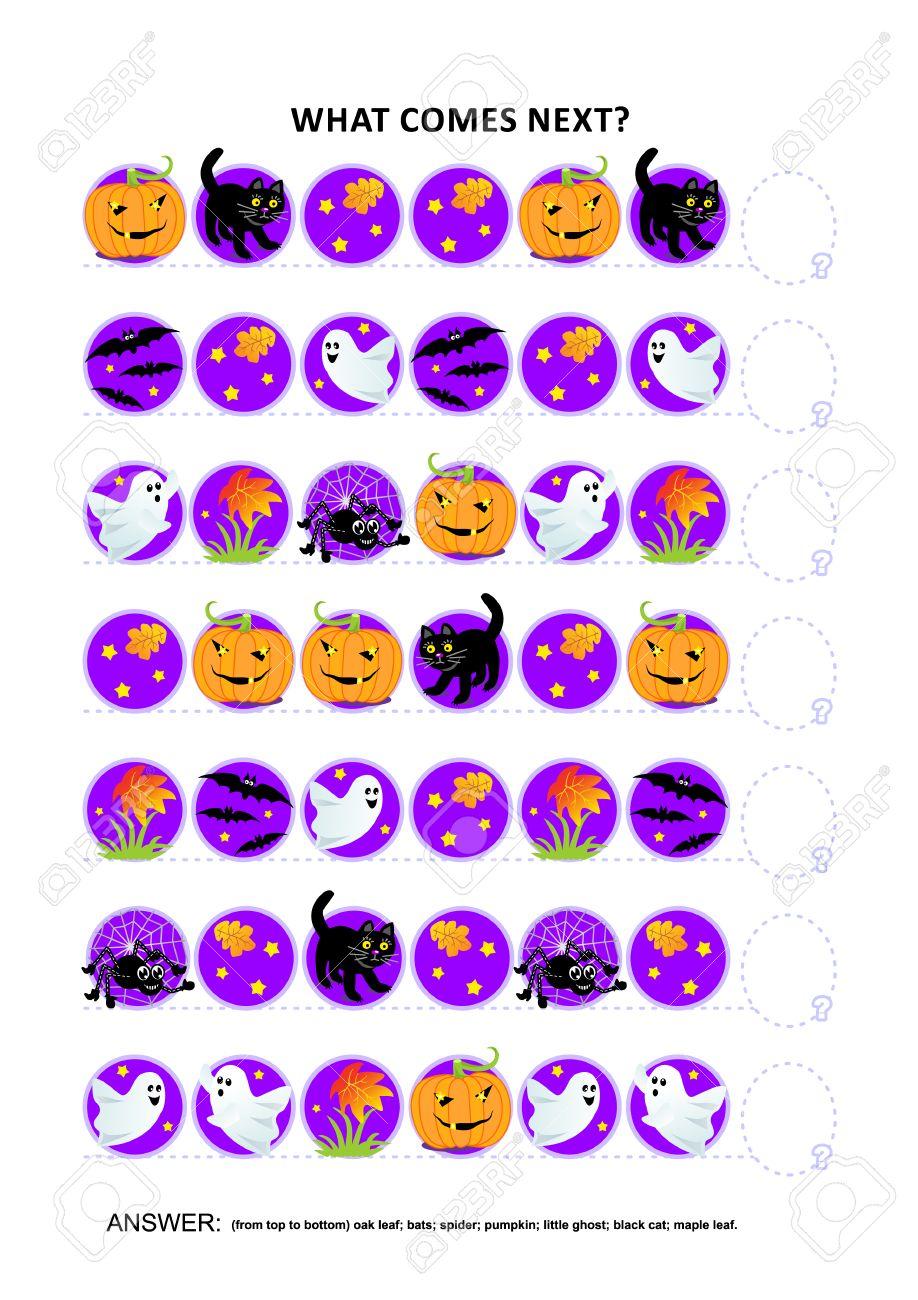 Halloween Thema.Halloween Thema Educatieve Logica Game Training Sequentiele Patroon Herkennings Vaardigheden Wat Komt Er Volgend In De Volgorde Antwoord Inbegrepen