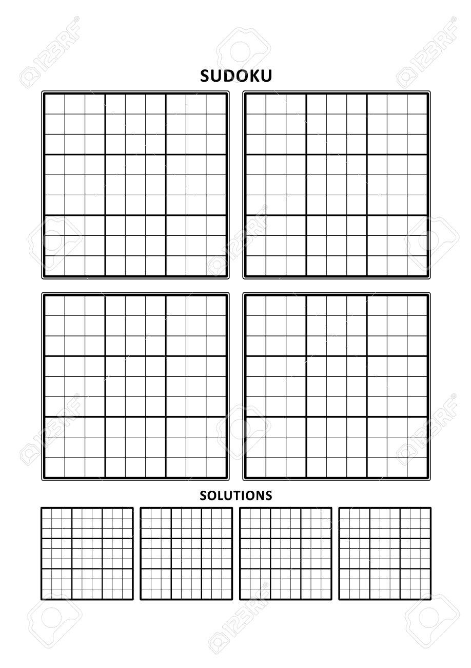 Sudoku Puzzle Leere Vorlage, Vier Gitter Mit Lösungsraster, Auf A4 ...