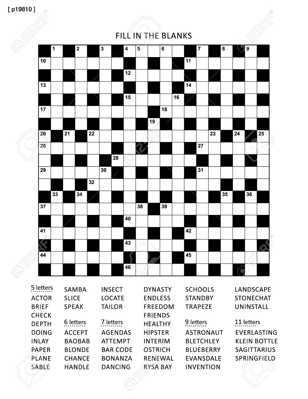 graphic about Fill in Puzzles Printable identified as Puzzle site with 19x19 criss-cross (or fill inside of, else kriss-kross)..
