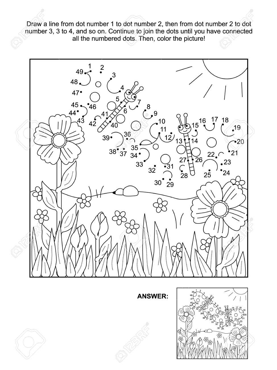 Verbinden Sie Die Punkte Bildpuzzle Und Malvorlagen, Frühling Oder ...