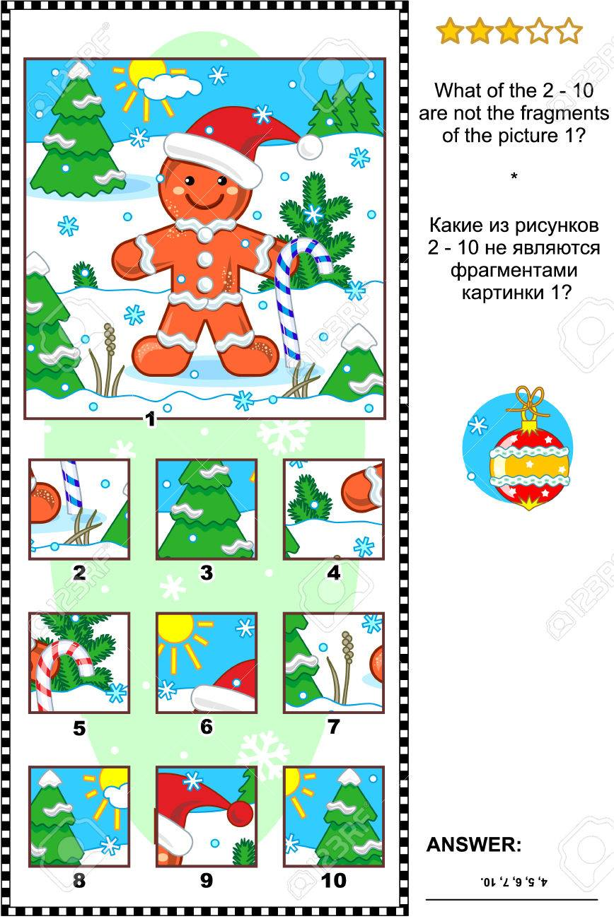 Christmas, winter or New Year visual logic puzzle with ginger