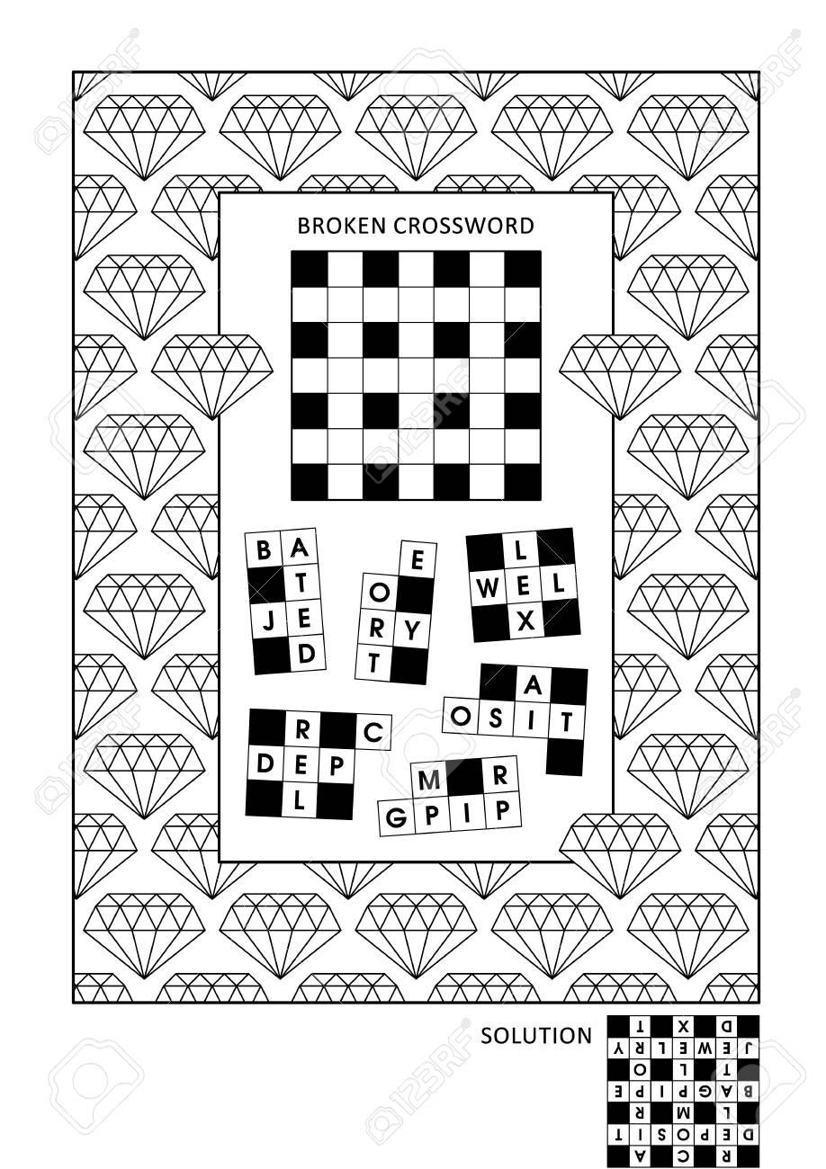 Puzzle- Und Malspielseite Für Erwachsene Mit Wortspiel (Englisch ...