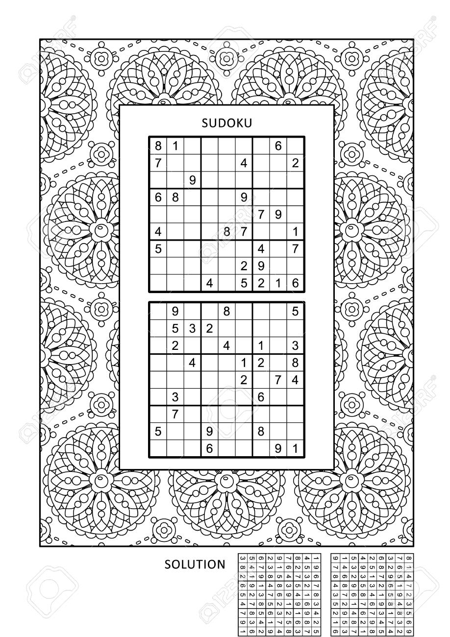 Puzzle and coloring activity page for grown-ups with two sudoku..