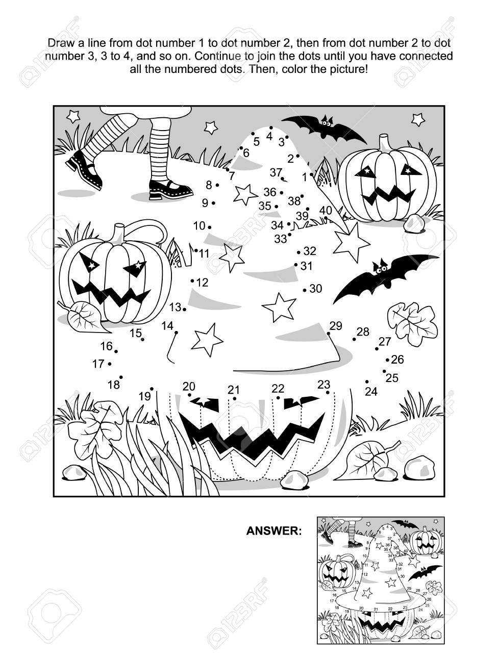 Connect The Dots Picture Puzzle And Coloring Page - Halloween ...