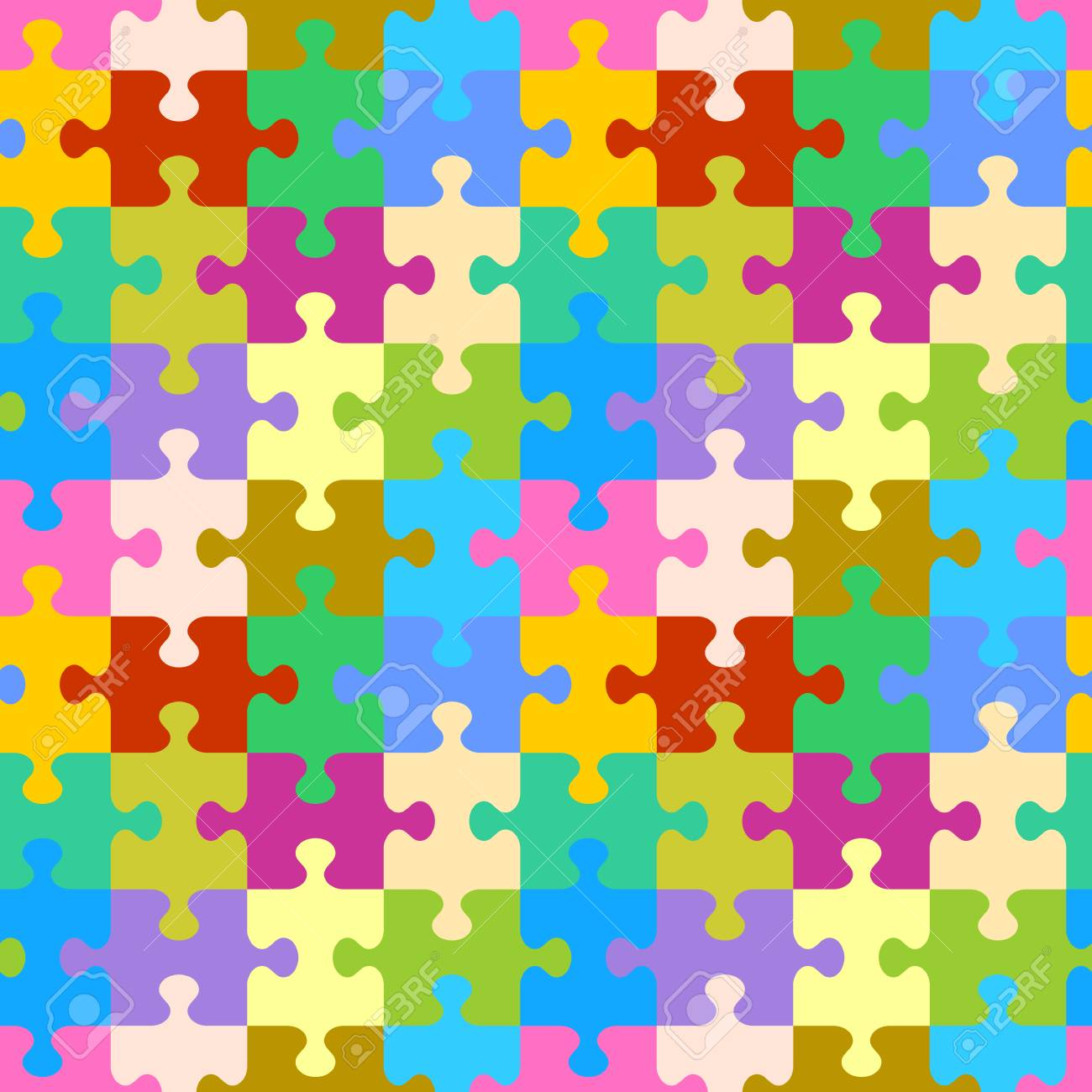 Seamless You See 4 Tiles Colorful Jigsaw Puzzle Pattern Background Print
