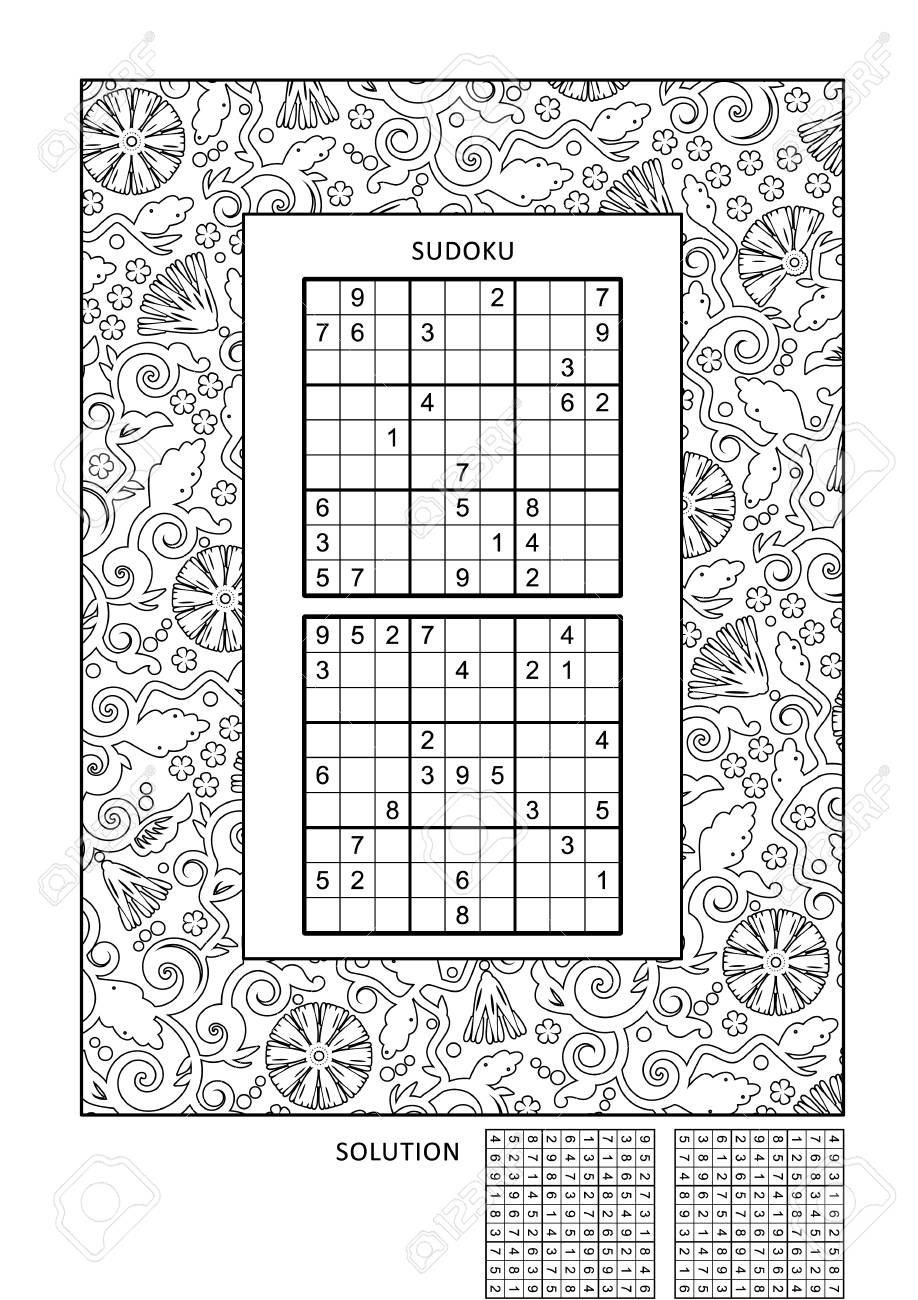 - Puzzle And Coloring Activity Page For Grown-ups With Two Sudoku