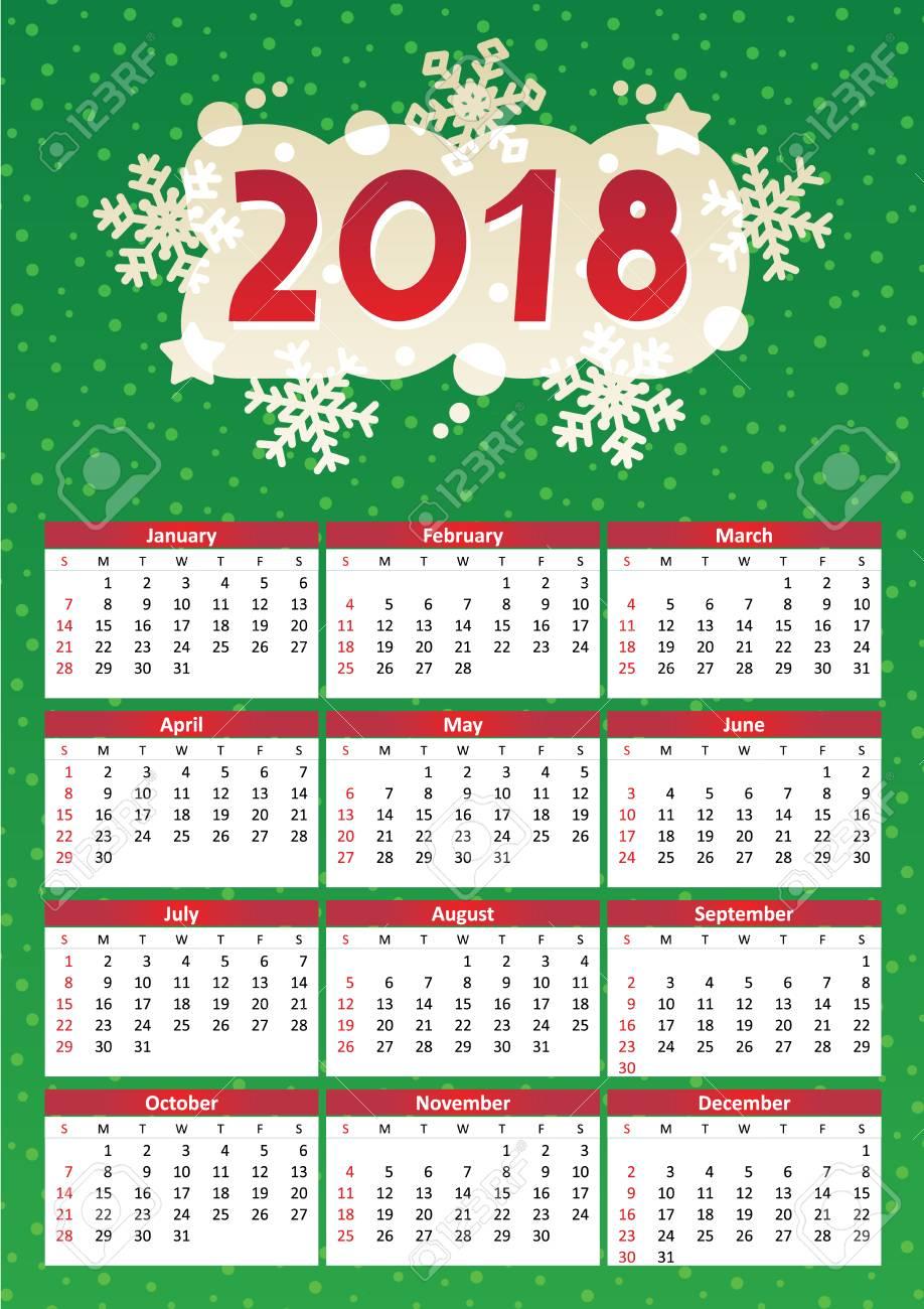 Calendario Completo.2018 Calendario De Ano Completo De Diseno