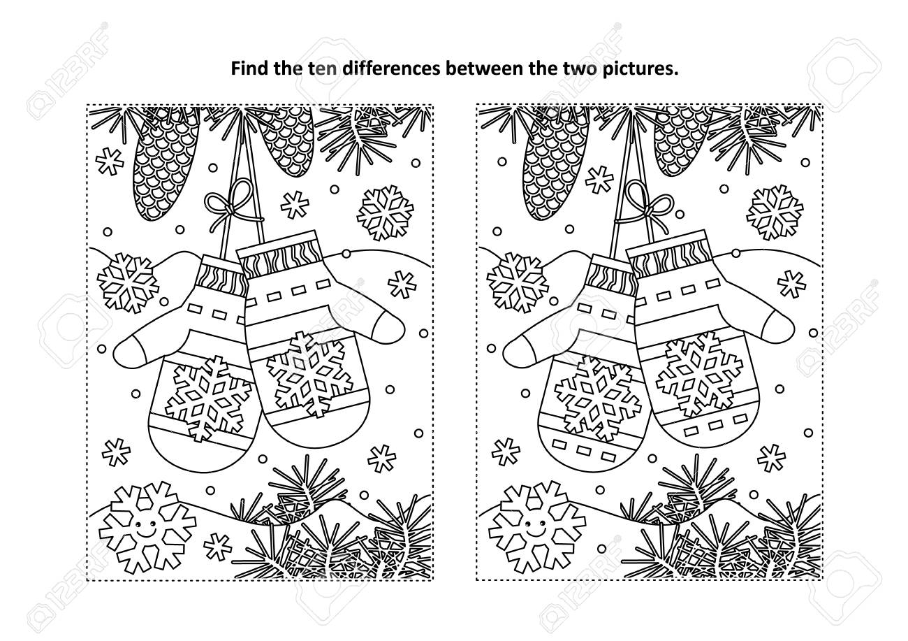 Christmas Themed Find The Ten Differences Picture Puzzle And ...