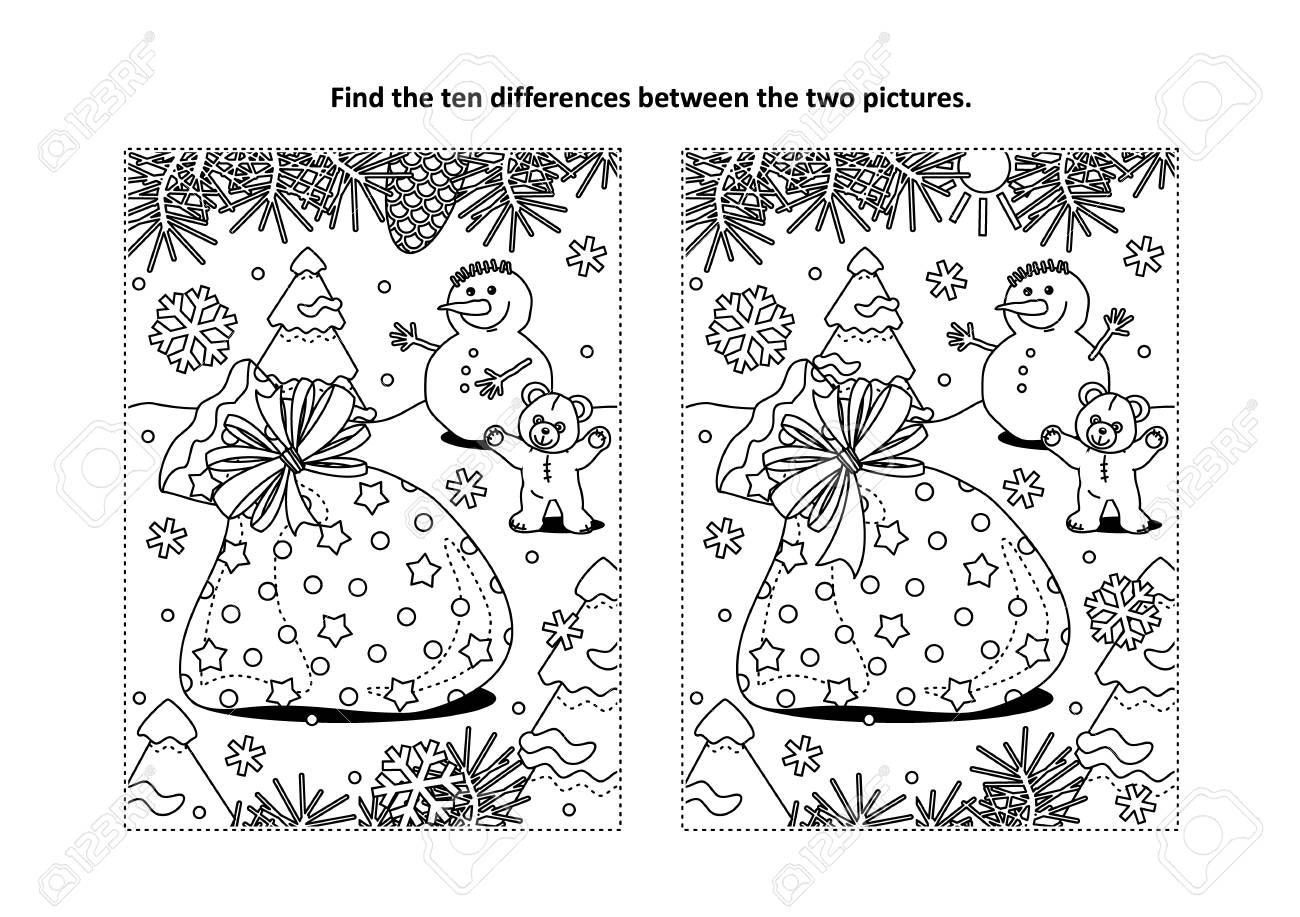 Vacaciones De Invierno Con Temas Encontrar El Rompecabezas De Diez Diferencias Y El Vector De Página Para Colorear