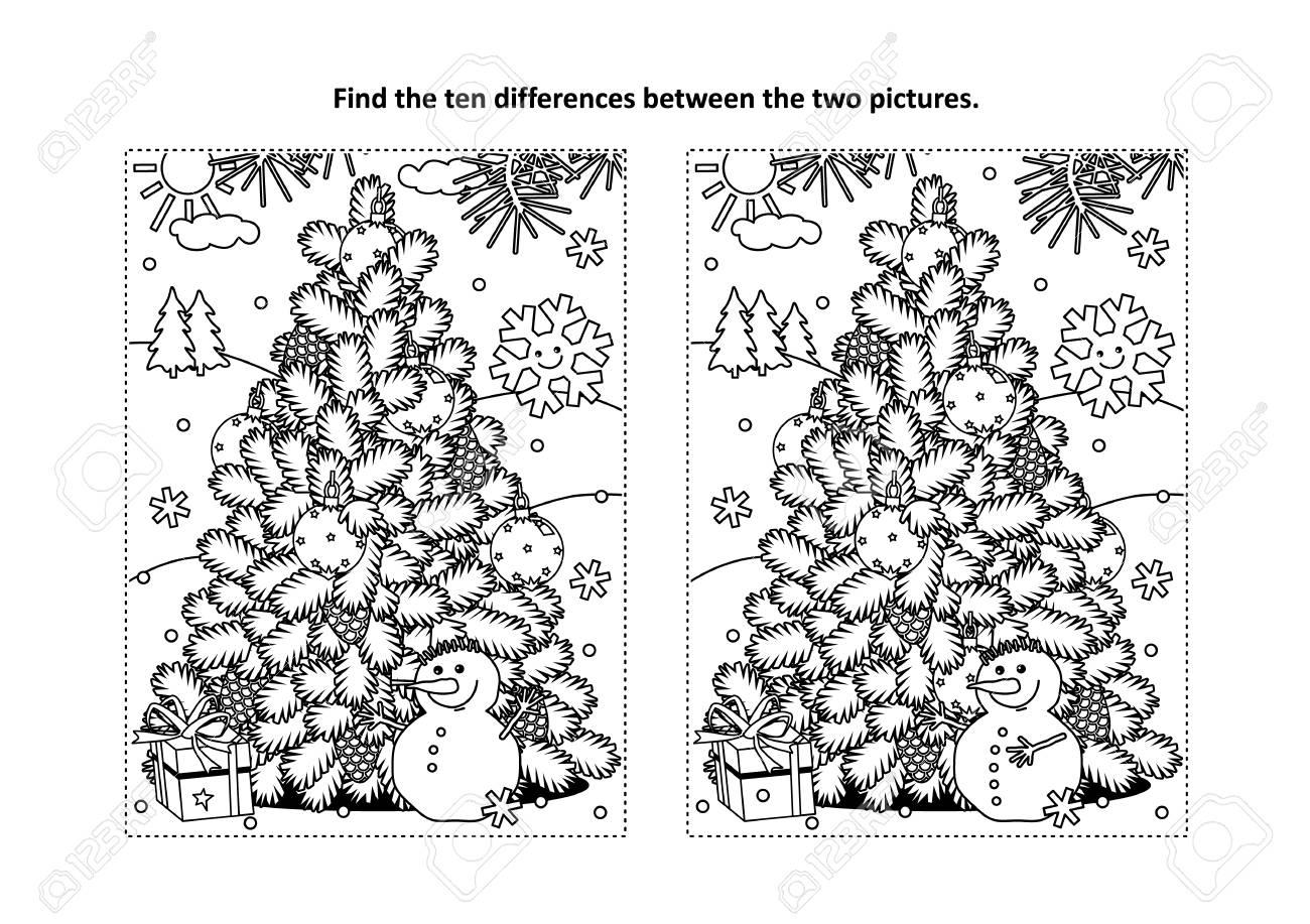 Winterurlaub, Neujahr oder Weihnachten Themen finden die zehn Unterschiede  Bilderrätsel und Malvorlagen mit Weihnachtsbaum, fröhlichen Schneemann,