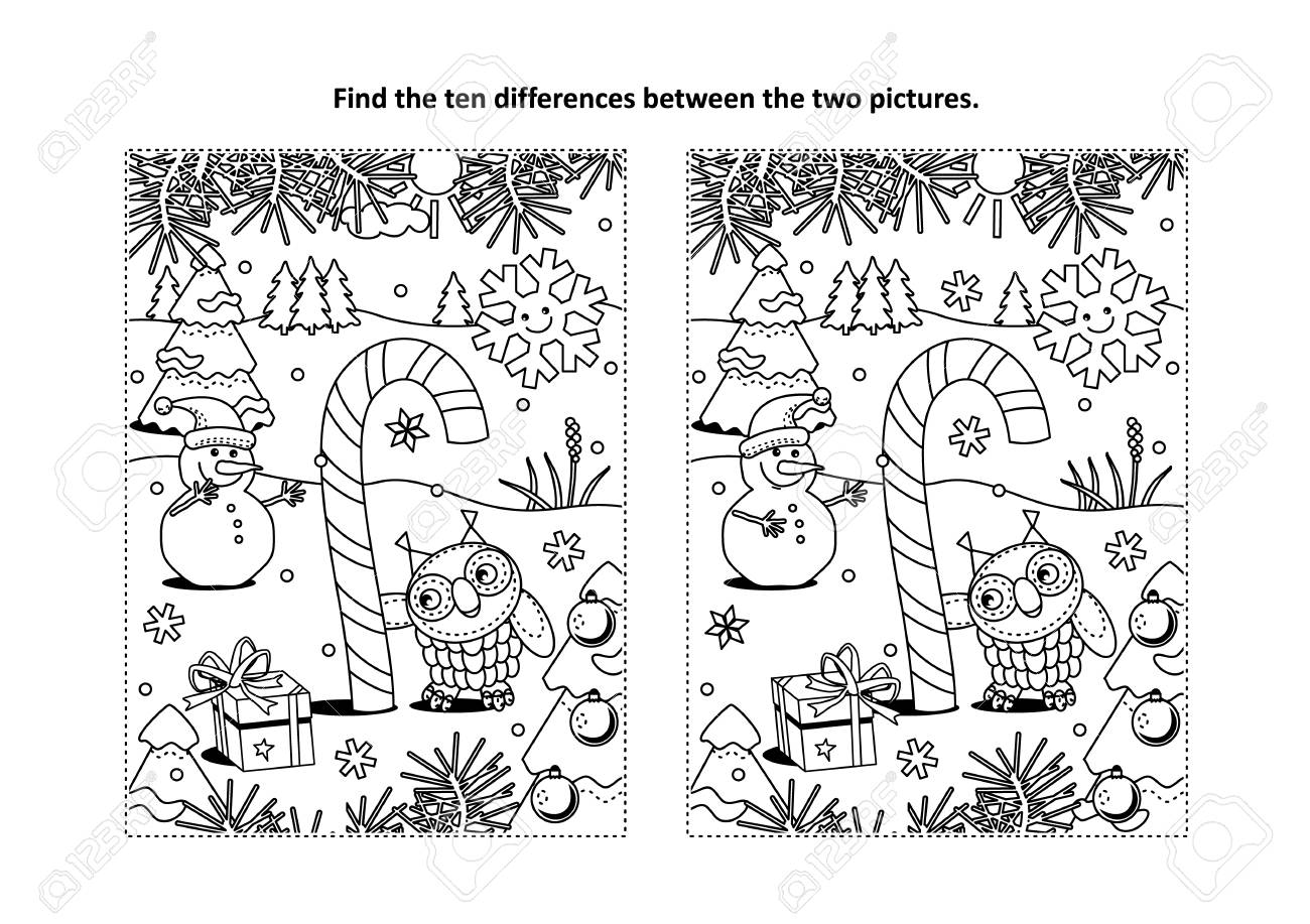 Find The Differences Picture Puzzle And Coloring Page In Winter ...