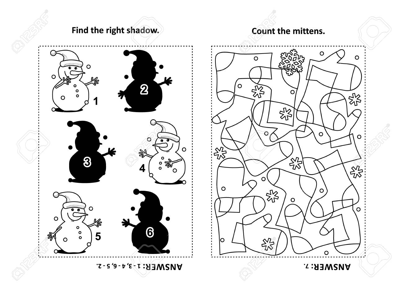 Two visual puzzles and coloring page for kids find the right shadow for each picture