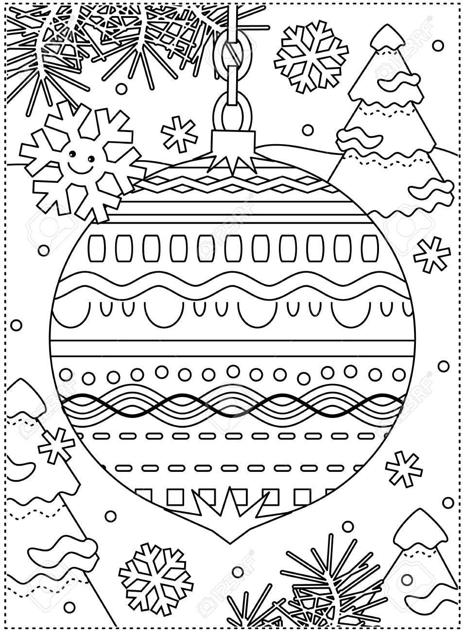 Winter Holidays Coloring Page For Kids And Grown Ups With Decorated