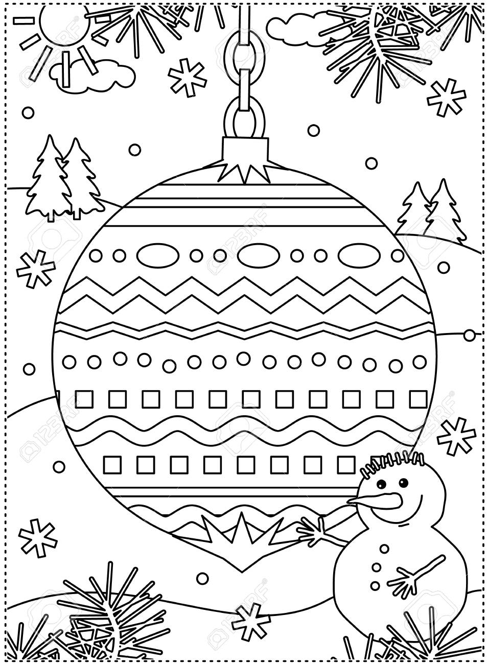 Winter Holidays Coloring Page For Kids And Grown-ups With Decorated ...
