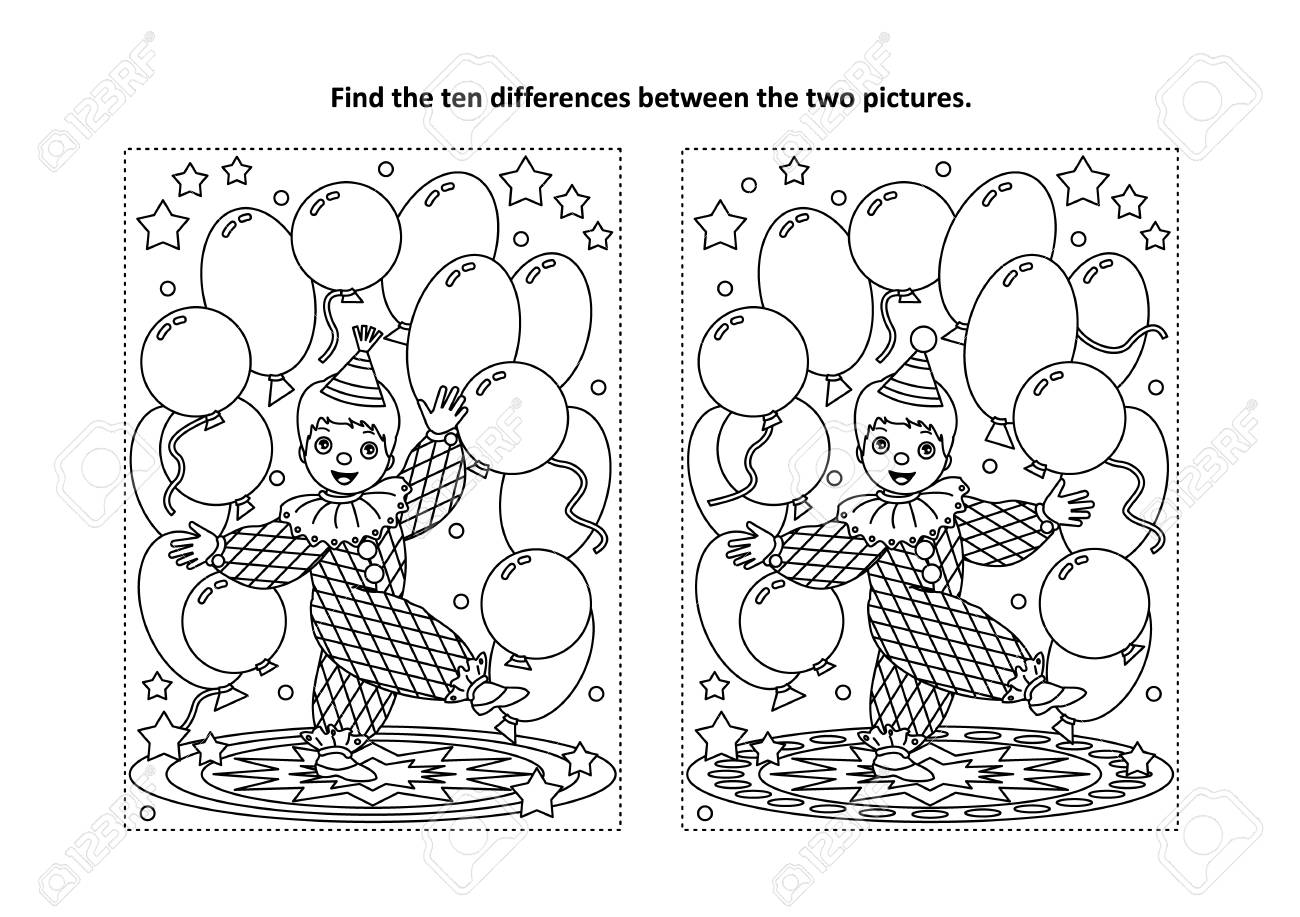 Circus themed find the ten differences picture puzzle and coloring..