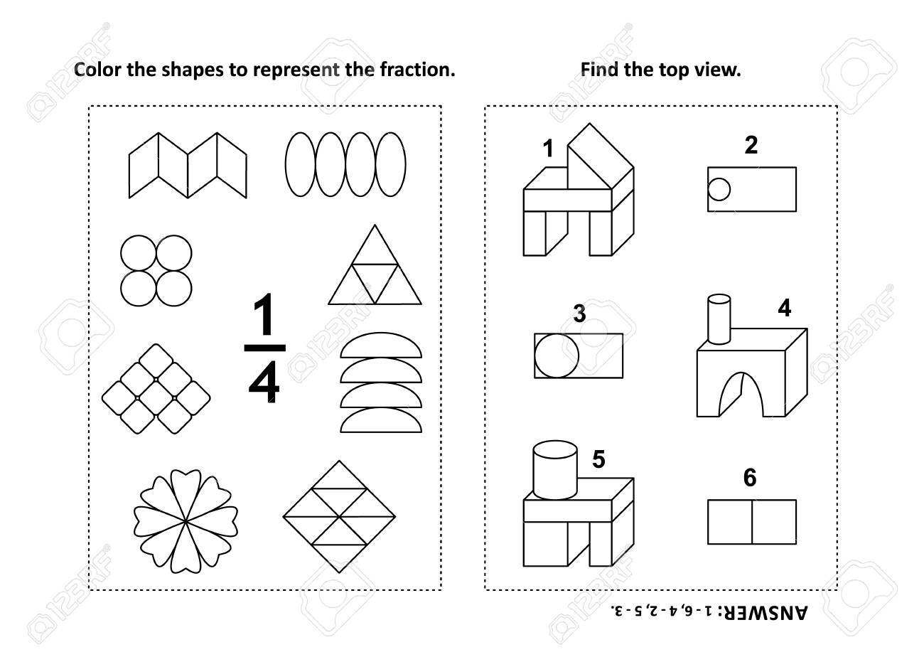 Two visual math puzzles and coloring pages. Color the shapes..