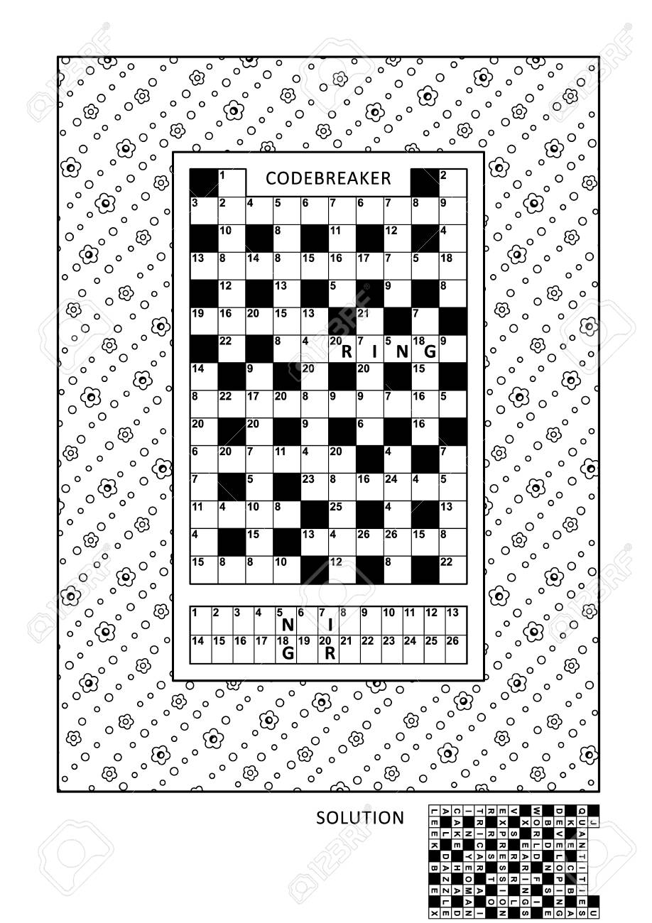 Puzzle And Coloring Activity Page For Grown-ups With Code Breaker ...