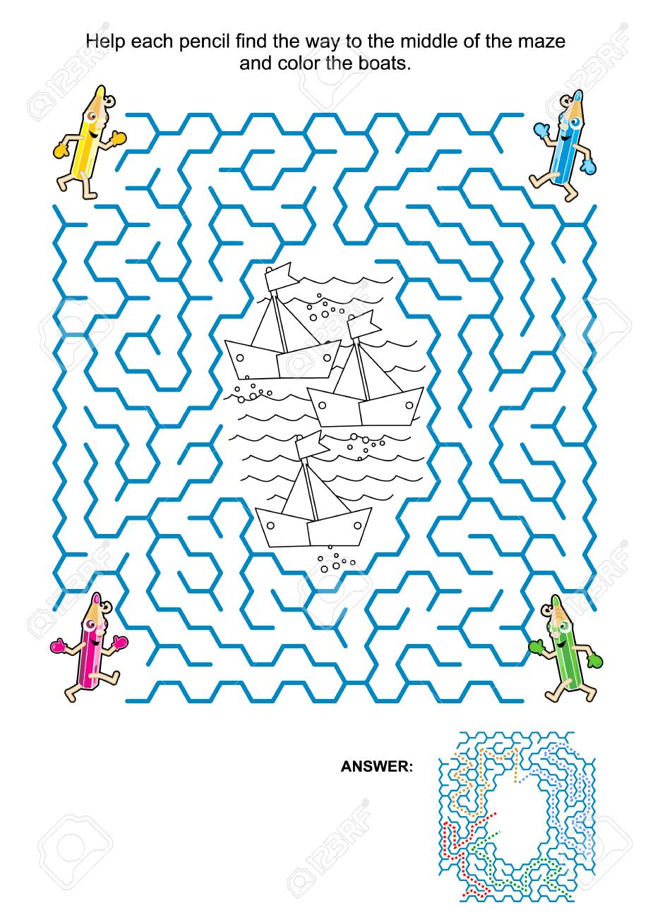 Maze Game And Coloring Page For Kids: Help The Pencils Get To ...