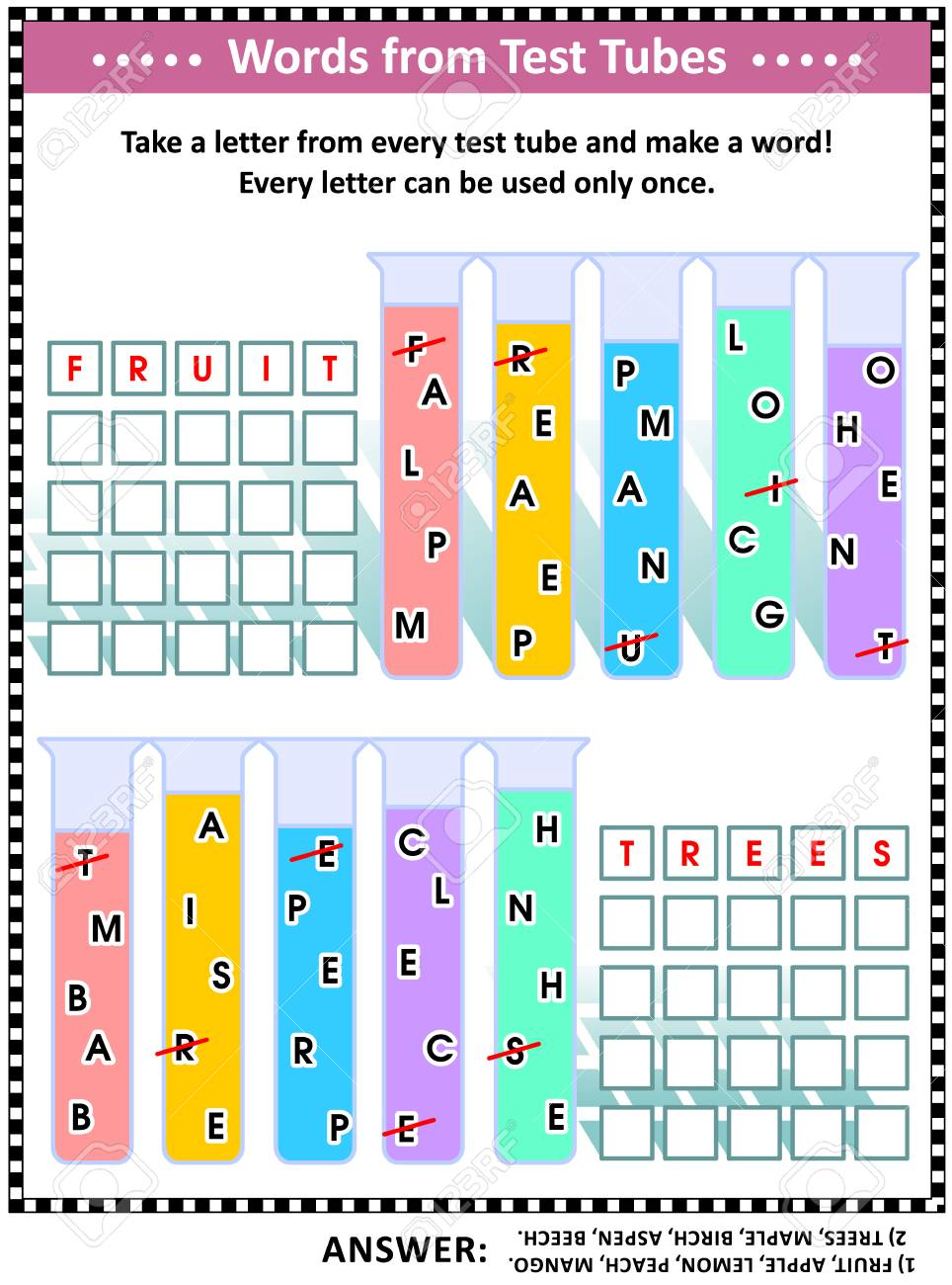 Word game (English language) for kids or adults: Make five words