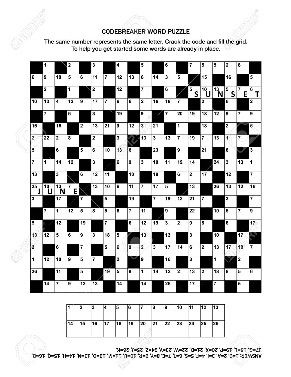 photograph relating to Codeword Puzzles Printable known as Puzzle website page with codebreaker (codeword, code cracker) phrase sport..