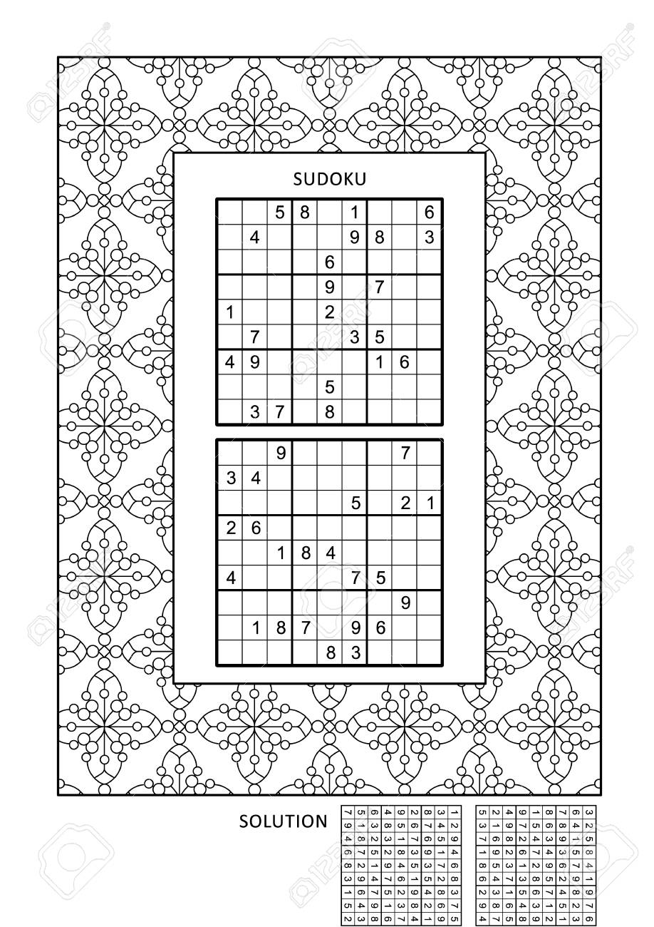 Puzzle And Coloring Activity Page For Grown-ups With Two Sudoku ...