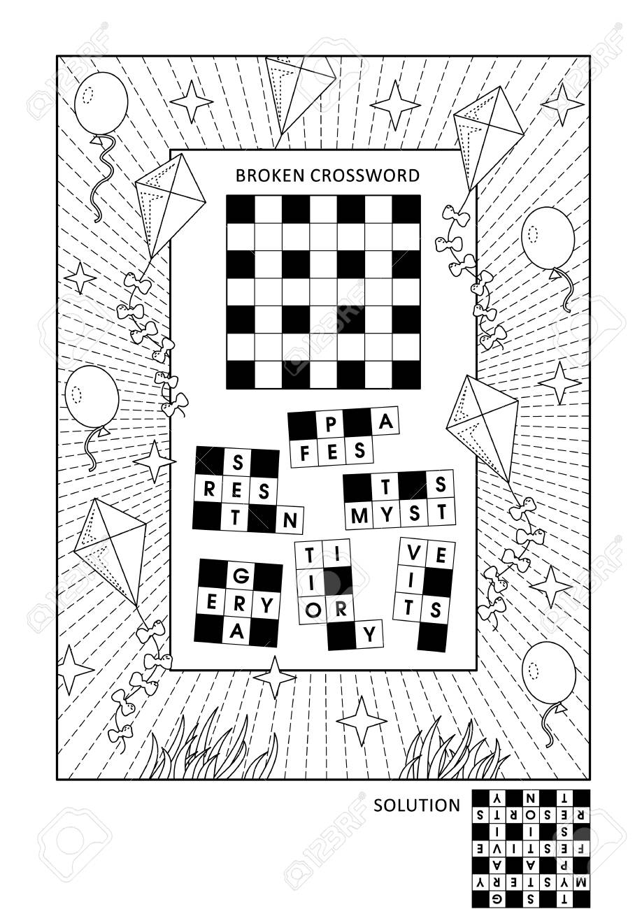 Puzzle And Coloring Activity Page For Grown-ups With Word Game ...