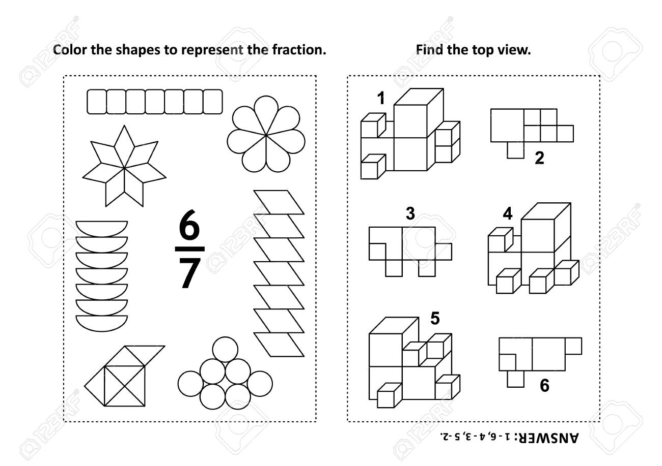 Two visual math puzzles and coloring pages. Color the shapes to represent the fraction. Find the top view. Black and white. Answers included. - 99464268