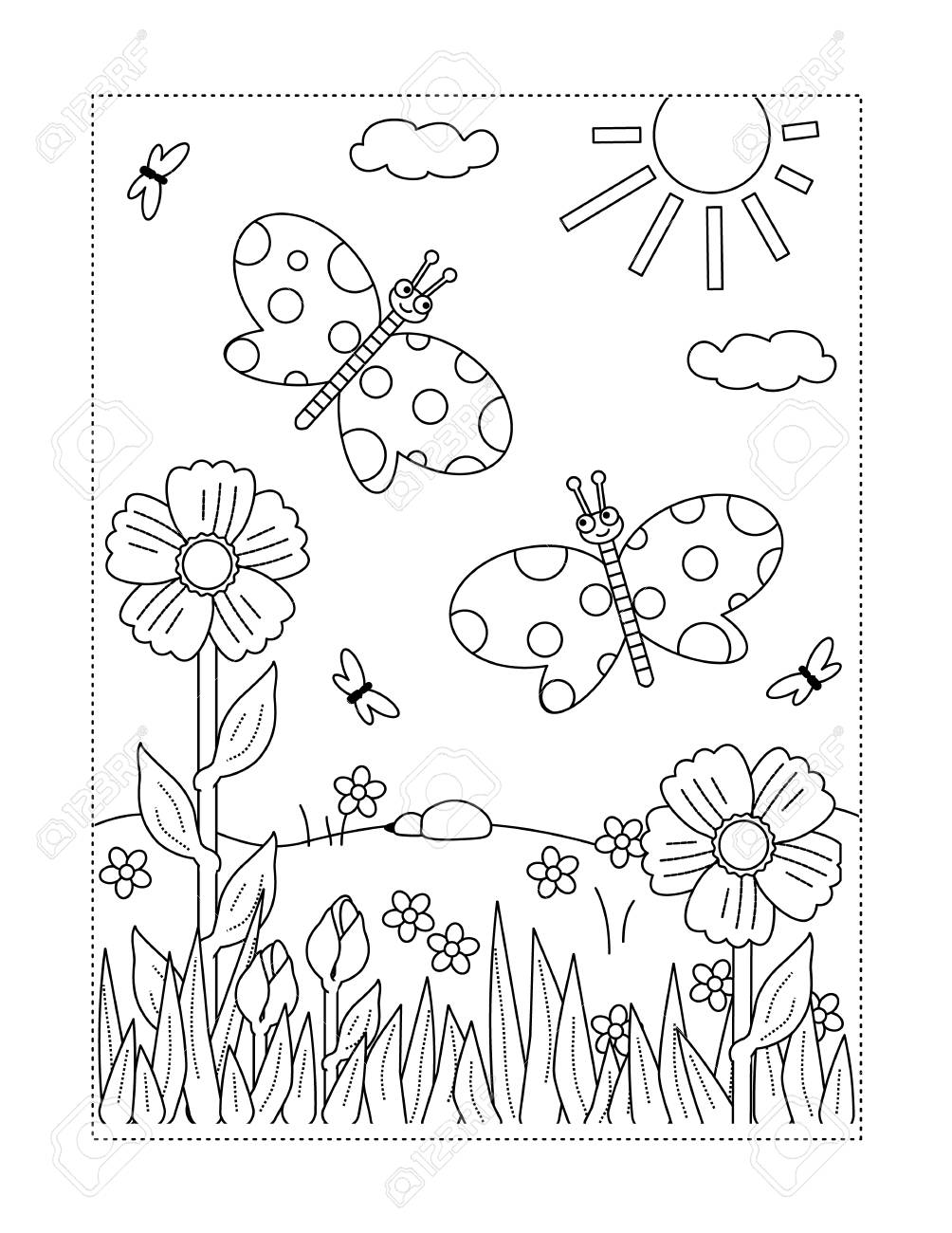Spring or summer joy themed coloring page with butterflies, flowers,..