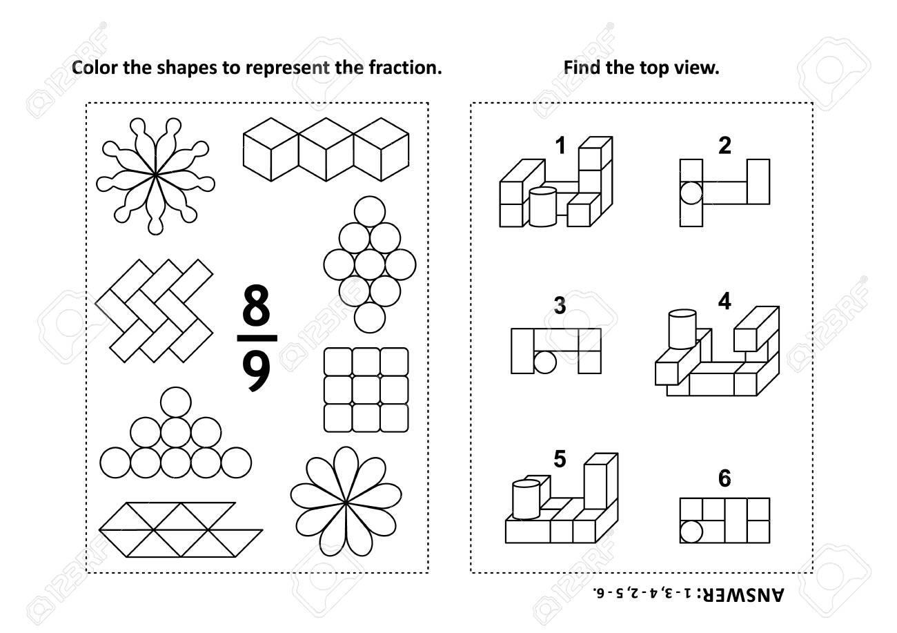 Two Visual Math Puzzles And Coloring Pages. Color The Shapes ...