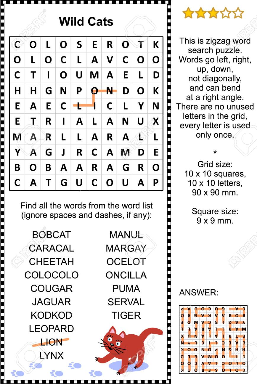 Wild cats themed zigzag word search puzzle (suitable both for
