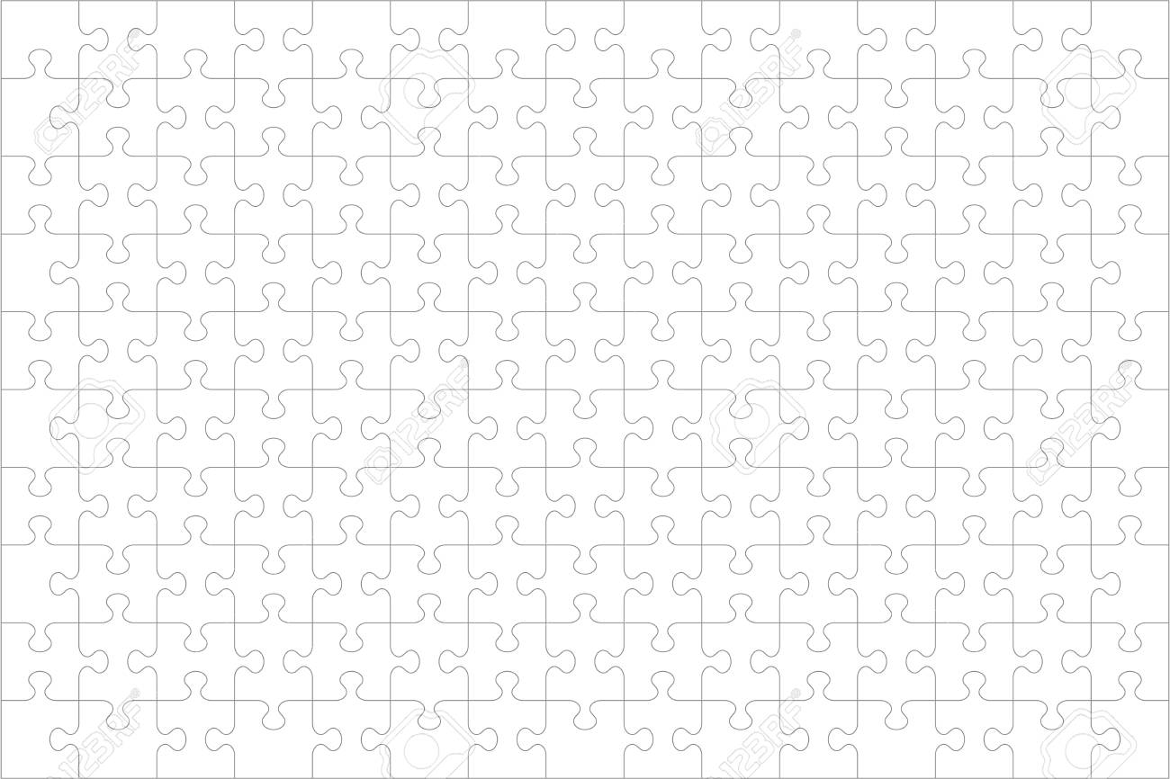 Jigsaw puzzle blank template or cutting guidelines of 150 transparent pieces, landscape orientation, and visual ratio 3:2. Pieces are easy to separate (every piece is a single shape). - 112659887