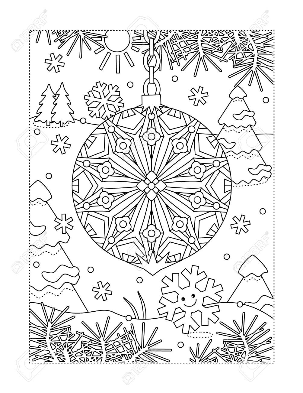 Winter Holidays Joy Themed Coloring Page With Beautiful Christmas Royalty Free Cliparts Vectors And Stock Illustration Image 121550243
