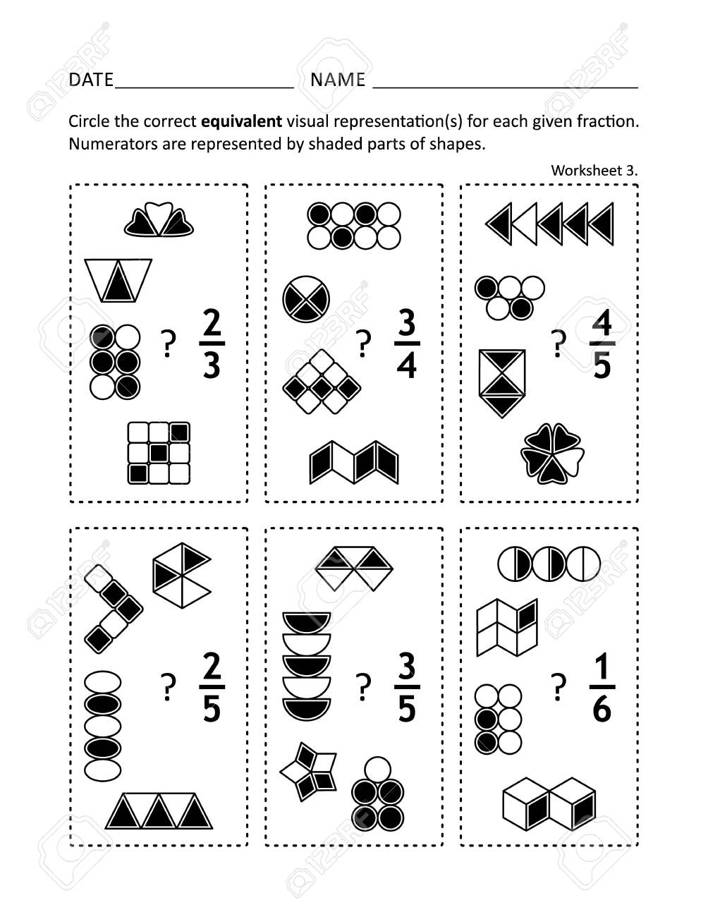 Math worksheet for students of all ages. Learn or reinforce fractions..