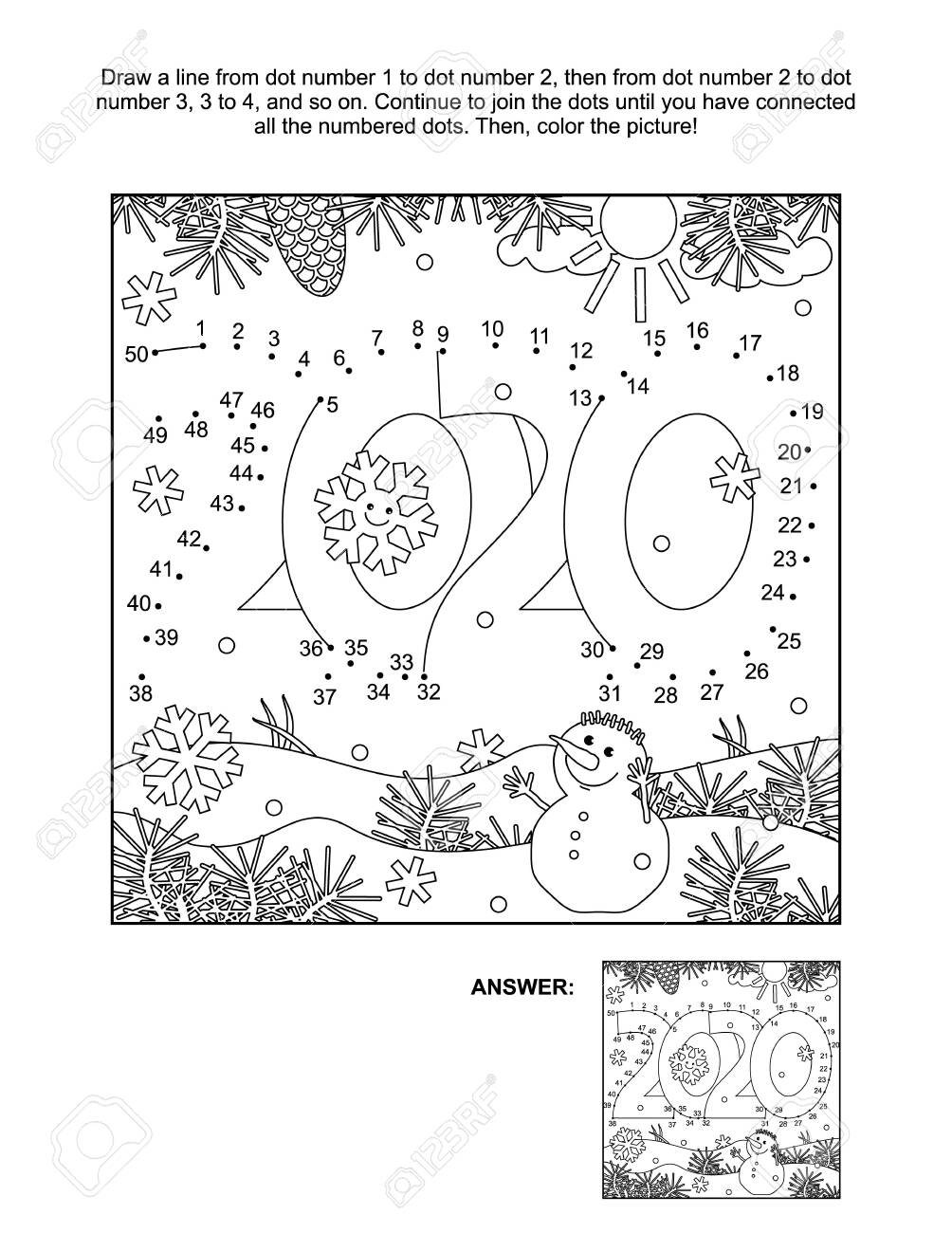 Christmas Fun Easy Connect Dots Coloring Pages Printable | 1300x1004