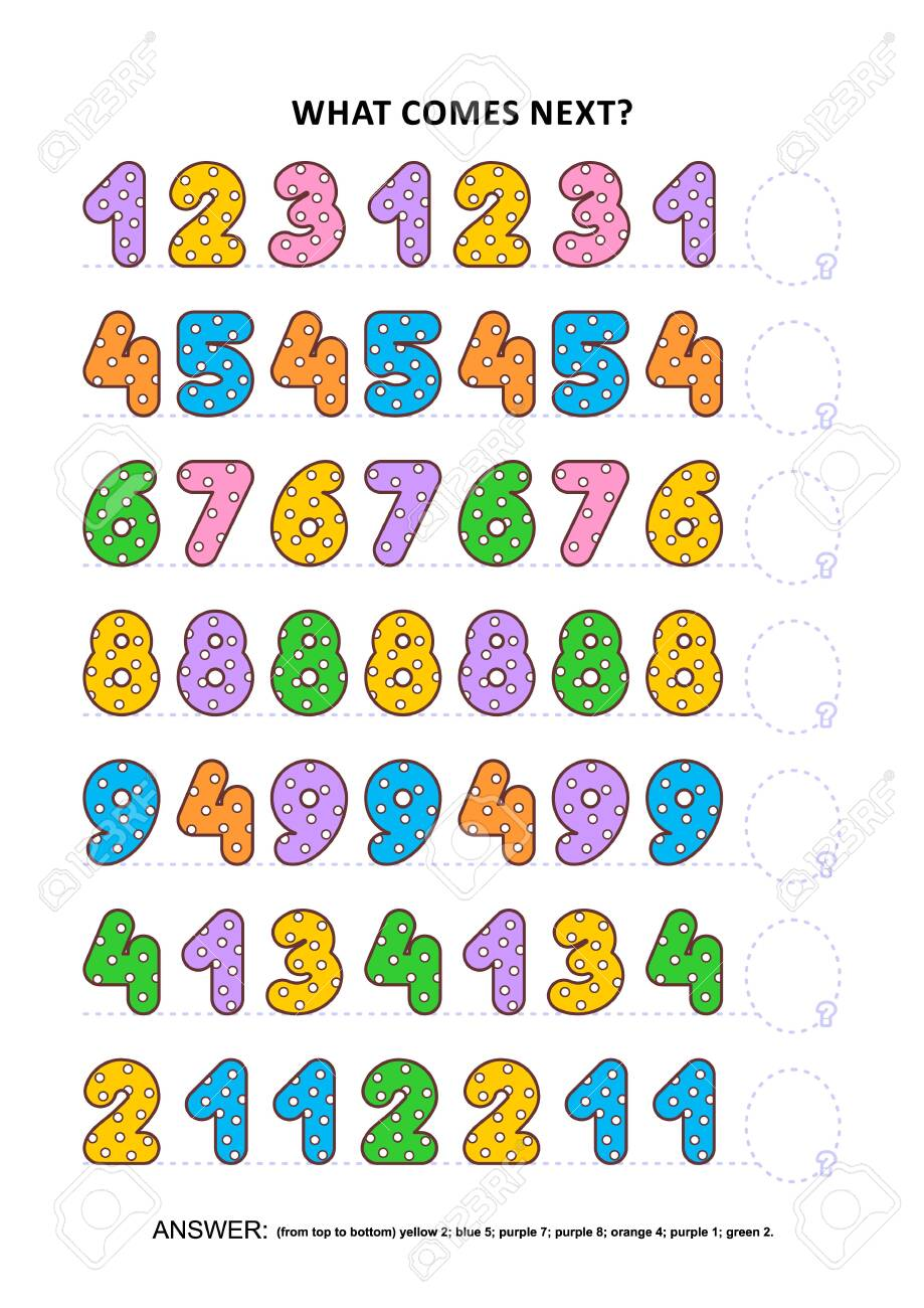 Basic skills practice logic game with colorful polka-dot numbers. Training sequential pattern recognition skills: What comes next in the sequence? Answer included. - 131421461